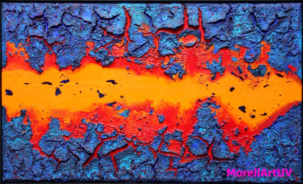"""295 - 85 x 140 - """"Juli"""" - Farb-, Materialcollage - 2014"""