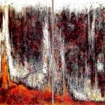 "235 - 2 x (120 x 85) - ""Zwei Brüder"" - Farb-, Materialcollage - 1998"