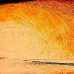 """257 - 85 x 150 - """"Hinter den Nebeln deines Avalon"""" - Farb-, Materialcollage - 2002"""
