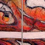 "266 - 2 x (95 x 95) - ""Das Gleiche, aber nicht das Selbe"" - Farb-, Materialcollage - 2003"