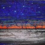 """267 - 80 x 150 - """"... solange bis der Himmel zerbricht"""" - Farb-, Materialcollage - 2004"""