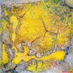 """274 - 105 x 105 - """"Am Ende des Regenbogens..."""" - Farb-, Materialcollage - 2008"""