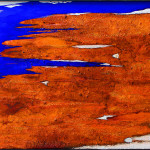 "287 - 85 x 140 - ""Warmzeit"" - Farb-, Materialcollage - 2013"