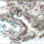 """288 - 85 x 140 - """"Es taut..."""" - Farb-, Materialcollage - 2013"""