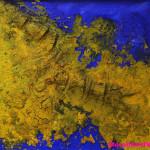 "290 - 105 x 105 - ""Drachenrücken"" - Farb-, Materialcollage - 2013"
