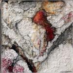 "294 - 3 x (100 x 100) - ""Marisol III - I"" - Farb-, Materialcollage - 2014 (bestehend aus 292, 293 & 276)"